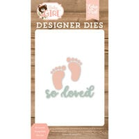 Echo Park - Baby Girl Collection - Decorative Dies - So Loved Footprints
