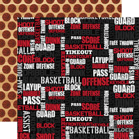 Echo Park - Basketball Collection - 12 x 12 Double Sided Paper - Basketball Words