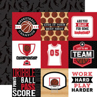 Echo Park - Basketball Collection - 12 x 12 Double Sided Paper - 4 x 4 Journaling Cards