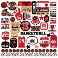 Echo Park - Basketball Collection - 12 x 12 Cardstock Stickers - Elements