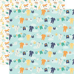 Echo Park - Hello Baby Boy Collection - 12 x 12 Double Sided Paper - Boy Clothesline