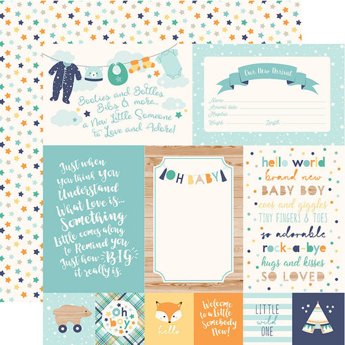 Echo Park - Hello Baby Boy Collection - 12 x 12 Double Sided Paper - 4 x 6 Journaling Cards