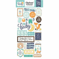 Echo Park - Hello Baby Boy Collection - Chipboard Stickers - Phrases