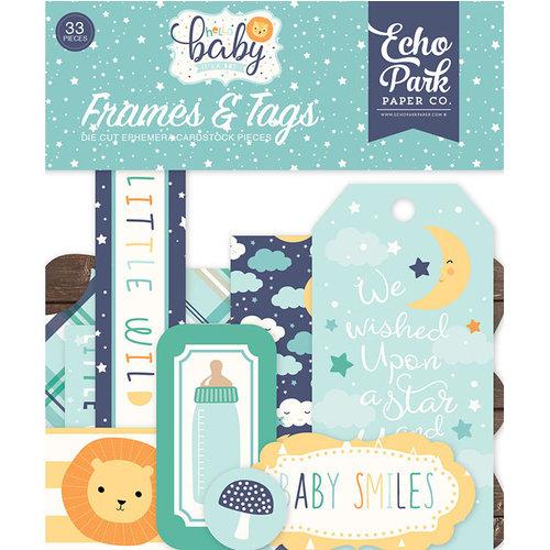 Echo Park - Hello Baby Boy Collection - Ephemera - Frames and Tags