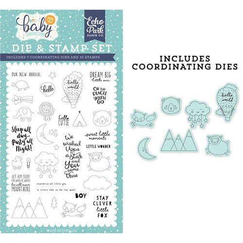 Echo Park - Hello Baby Boy Collection - Designer Dies and Clear Photopolymer Stamp Set - New Arrival