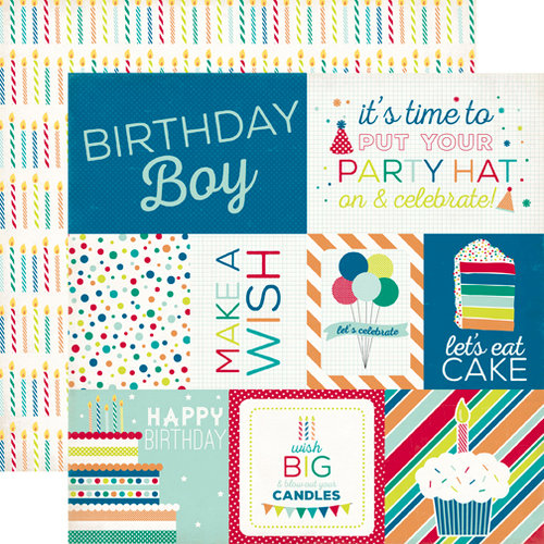 Echo Park - Birthday Collection - Boy - 12 x 12 Double Sided Paper - Journaling Cards