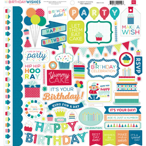 Echo Park - Birthday Collection - Boy - 12 x 12 Cardstock Stickers - Elements