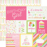 Echo Park - Birthday Collection - Girl - 12 x 12 Double Sided Paper - Journaling Cards