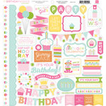 Echo Park - Birthday Collection - Girl - 12 x 12 Cardstock Stickers - Elements
