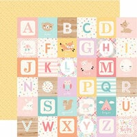 Echo Park - Hello Baby Girl Collection - 12 x 12 Double Sided Paper - Girl Alphabet Blocks