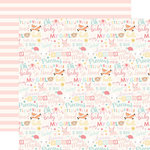 Echo Park - Hello Baby Girl Collection - 12 x 12 Double Sided Paper - Baby Girl Words