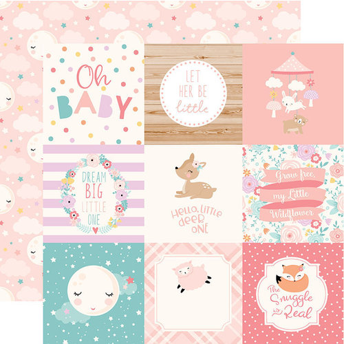 Echo Park - Hello Baby Girl Collection - 12 x 12 Double Sided Paper - 4 x 4 Journaling Cards