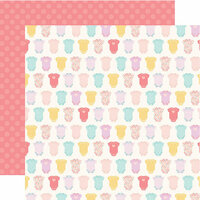 Echo Park - Hello Baby Girl Collection - 12 x 12 Double Sided Paper - Onesies