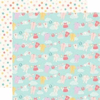 Echo Park - Hello Baby Girl Collection - 12 x 12 Double Sided Paper - Girl Clothesline