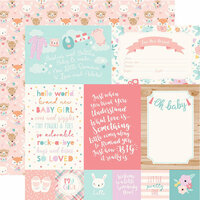 Echo Park - Hello Baby Girl Collection - 12 x 12 Double Sided Paper - 4 x 6 Journaling Cards