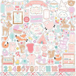 Echo Park - Hello Baby Girl Collection - 12 x 12 Cardstock Stickers - Elements