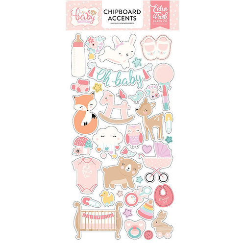 Echo Park - Hello Baby Girl Collection - Chipboard Stickers - Accents