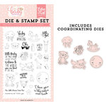 Echo Park - Hello Baby Girl Collection - Designer Dies and Clear Photopolymer Stamp Set - Little Baby