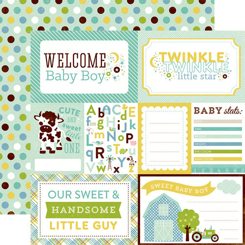 Echo Park - Bundle of Joy New Addition Collection - Boy - 12 x 12 Double Sided Paper - Welcome Baby Boy