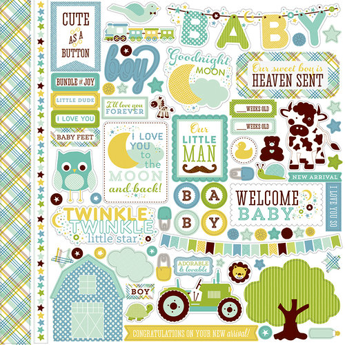 Echo Park - Bundle of Joy New Addition Collection - Boy - 12 x 12 Cardstock Stickers - Elements