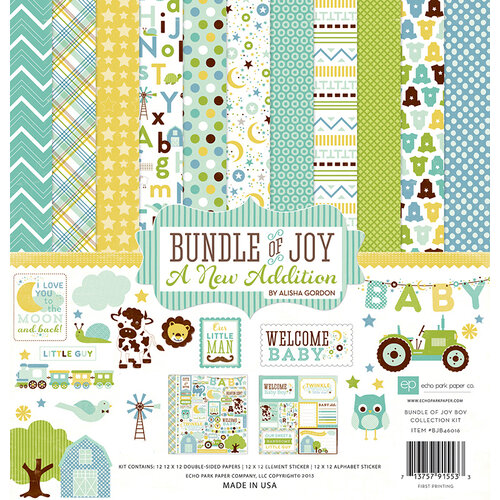 Echo Park - Bundle of Joy New Addition Collection - Boy - 12 x 12 Collection Kit