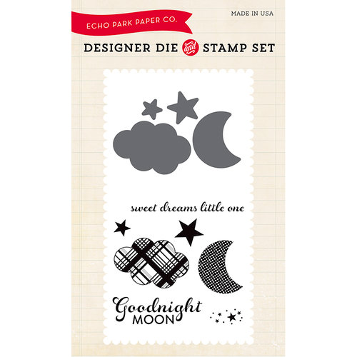 Echo Park - Bundle of Joy New Addition Collection - Boy - Designer Die and Clear Acrylic Stamp Set - Goodnight Moon