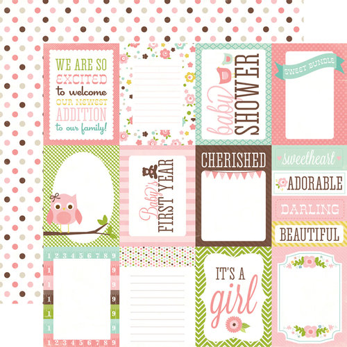 Echo Park - Bundle of Joy Collection - Girl - 12 x 12 Double Sided Paper - Journaling Cards