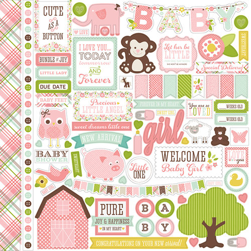 Echo Park - Bundle of Joy New Addition Collection - Girl - 12 x 12 Cardstock Stickers - Elements