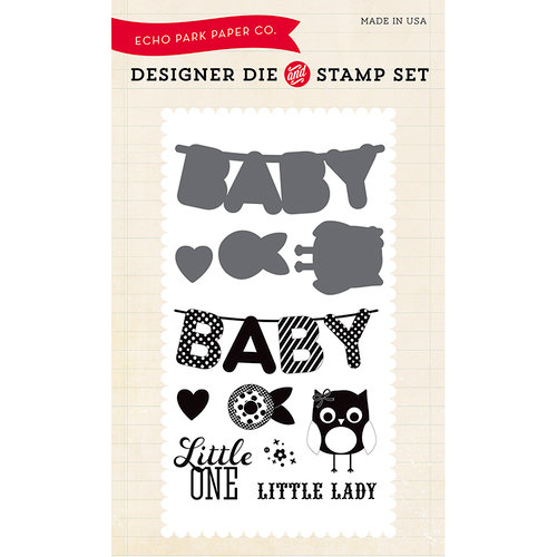 Echo Park - Bundle of Joy New Addition Collection - Girl - Designer Die and Clear Acrylic Stamp Set - Little One
