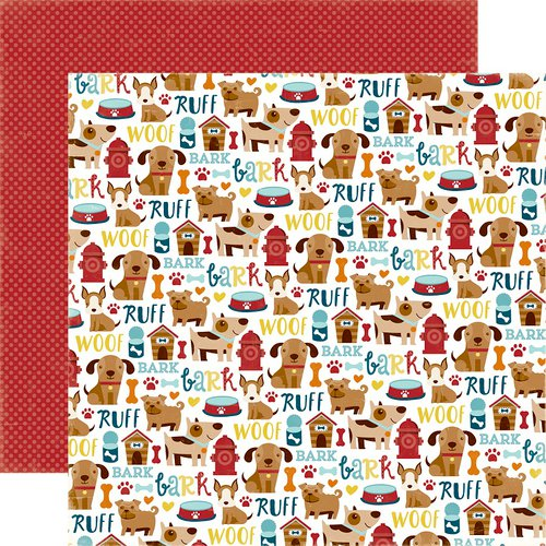 Echo Park - Bark Collection - 12 x 12 Double Sided Paper - Puppy Icons