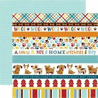 Echo Park - Bark Collection - 12 x 12 Double Sided Paper - Dog Border Strips