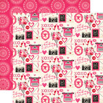 Echo Park - Blowing Kisses Collection - 12 x 12 Double Sided Paper - Valentine Icons