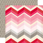 Echo Park - Blowing Kisses Collection - 12 x 12 Double Sided Paper - Large Chevron