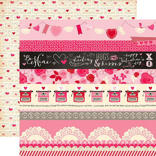 Echo Park - Blowing Kisses Collection - 12 x 12 Double Sided Paper - Valentine Borders