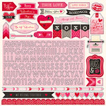 Echo Park - Blowing Kisses Collection - 12 x 12 Cardstock Stickers - Alphabet