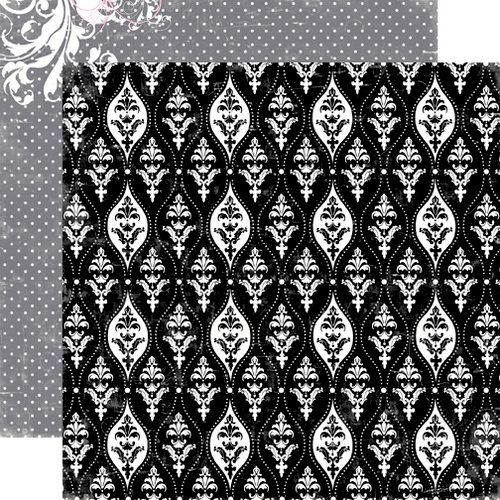 Echo Park - Be Mine Collection - Valentine - 12 x 12 Double Sided Paper - Black Damask