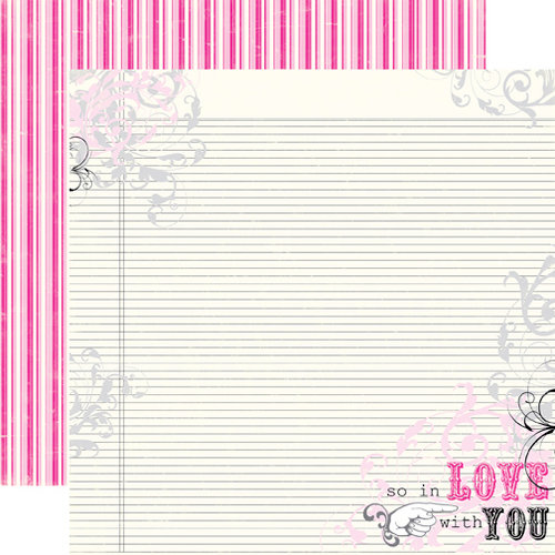 Echo Park - Be Mine Collection - Valentine - 12 x 12 Double Sided Paper - So In Love…