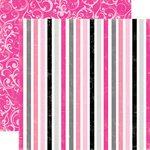 Echo Park - Be Mine Collection - Valentine - 12 x 12 Double Sided Paper - Sweet Stripes