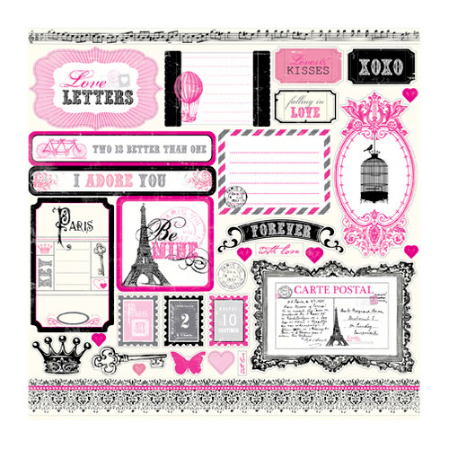 Echo Park - Be Mine Collection - Valentine - 12 x 12 Cardstock Stickers - Element Stickers