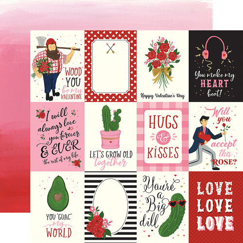 Echo Park - Be My Valentine Collection - 12 x 12 Double Sided Paper - 3 x 4 Journaling Cards