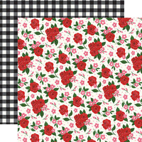 Echo Park - Be My Valentine Collection - 12 x 12 Double Sided Paper - Valentine's Floral