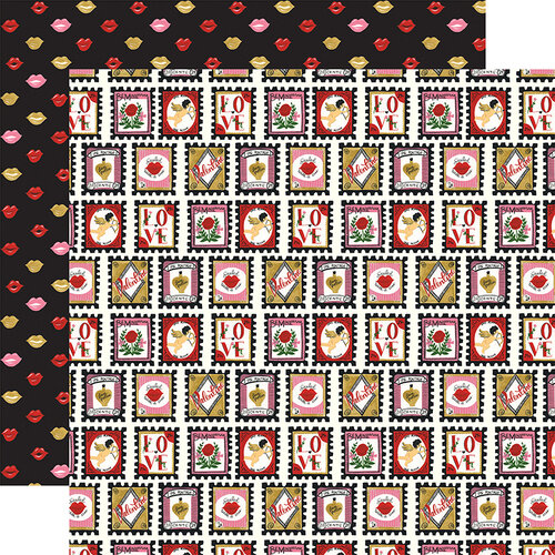 Echo Park - Be My Valentine Collection - 12 x 12 Double Sided Paper - Love Stamps