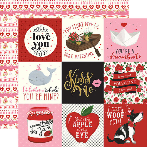 Echo Park - Be My Valentine Collection - 12 x 12 Double Sided Paper - 4 x 4 Journaling Cards