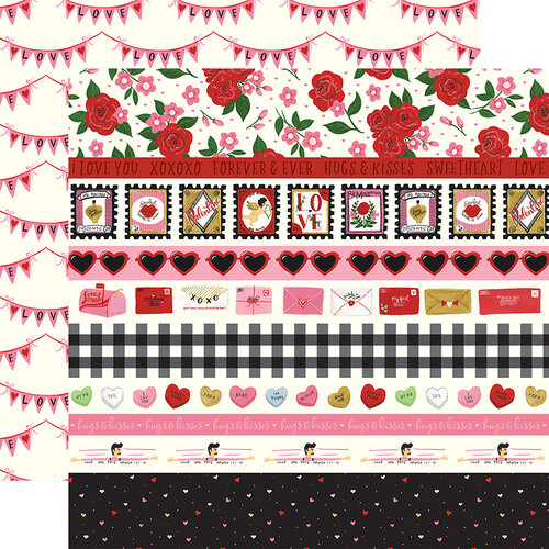 Echo Park - Be My Valentine Collection - 12 x 12 Double Sided Paper - Border Strips