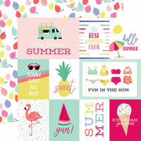 Echo Park - Best Summer Ever Collection - 12 x 12 Double Sided Paper - Journaling Cards