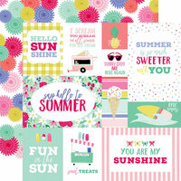 Echo Park - Best Summer Ever Collection - 12 x 12 Double Sided Paper - Multi Journaling Cards