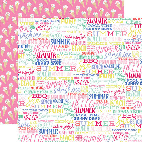 Echo Park - Best Summer Ever Collection - 12 x 12 Double Sided Paper - Summer Words