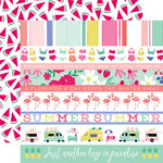 Echo Park - Best Summer Ever Collection - 12 x 12 Double Sided Paper - Border Strips