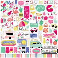 Echo Park - Best Summer Ever Collection - 12 x 12 Cardstock Stickers - Elements