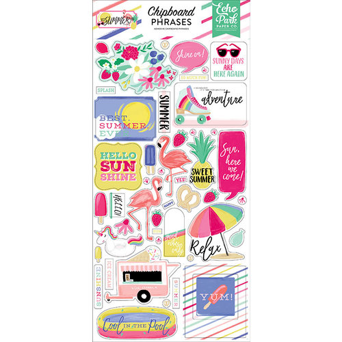 Echo Park - Best Summer Ever Collection - Chipboard Stickers - Phrases